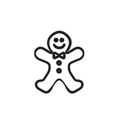 Gingerbread man sketch icon vector