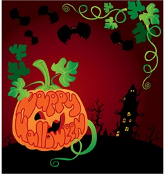 Halloween frame with pumpkin vector image vector image