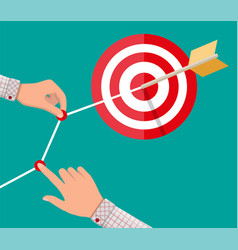 Hand of businessman pointing to arrow from target vector