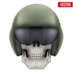 Human skull with Aircraft marshall helmet vector image vector image
