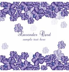 Lavender color flowers card border vector