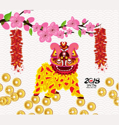 Lion dancing and chinese new year with firecracker vector