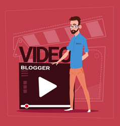 Man over vlogger channel screen modern video vector
