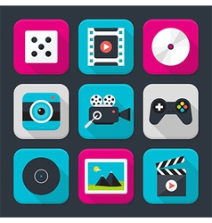 Multimedia audio and video themed squared app icon vector image vector image