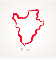 Outline map of burundi marked with red line vector