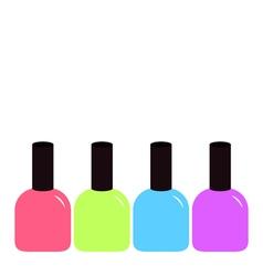 Pink blue violet green nail polish varnish icon vector