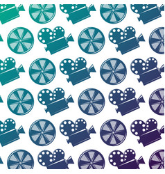 seamless pattern movie camera projector and reel vector image