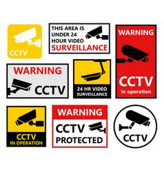 security camera sticker video surveillance vector image vector image