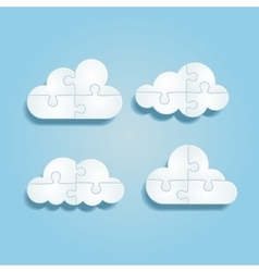 Set of different puzzle clouds vector image vector image