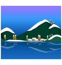 Snowy winter scene in the countryside vector image vector image