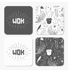 Square table coaster templates set with doodle wok vector