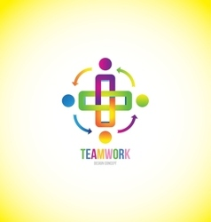 Teamwork logo design concept vector