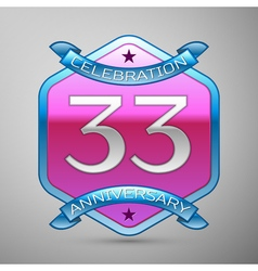 Thirty three years anniversary celebration silver vector