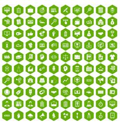 100 partnership icons hexagon green vector