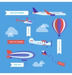 Air vehicles banners set vector