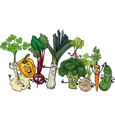 funny vegetables group cartoon vector image
