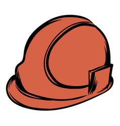 orange safety helmet icon cartoon vector image