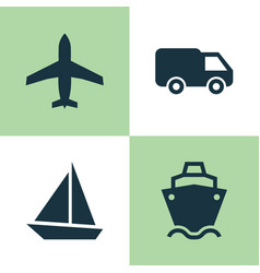 Transport icons set collection of yacht aircraft vector