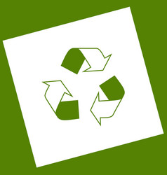 Recycle logo concept  white icon obtained vector