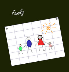 kids drawing family vector image