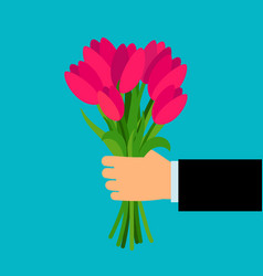 hand holding pink tulip flowers bouquet vector image