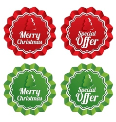 Merry christmas special offer price tags set vector