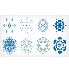 Set of isolated snowflakes for christmas decor vector