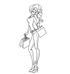 Sexy elegant woman with bags after shopping vector