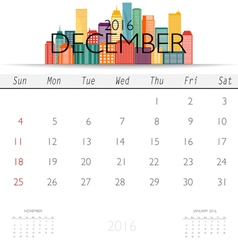 2016 calendar with creative building design vector
