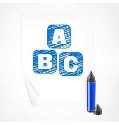 Blue marker and letters on vector image