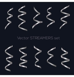 Set of golden flat streamers isolated on dark vector