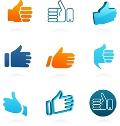 Set of thump up and like icons vector