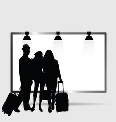 Girl and man front billboard silhouette vector