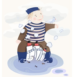 Little sailor boy vector