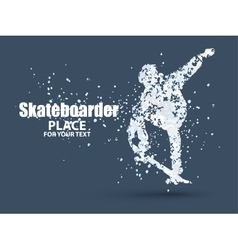 Skateboarder jump on skateboard particle vector
