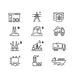 Power industry generations line icons vector