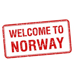 Welcome to norway red grunge square stamp vector