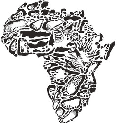 Abstract symbol africa in clouded leopard vector
