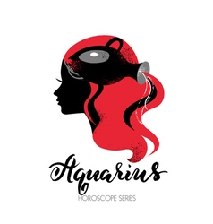 Aquarius zodiac sign Beautiful girl silhouette vector image vector image