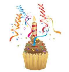 birthday chocolate cupcake vector image