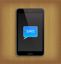 Blue text bubble in phone vector