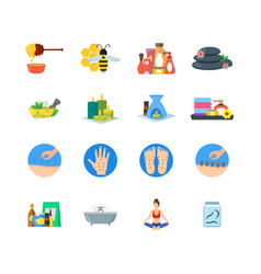 cartoon alternative medicine colorful icons set vector image