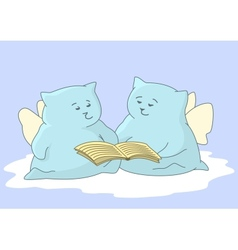 Cartoon animals angels read book vector image