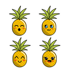 color kawaii faces pineapple icon vector image vector image
