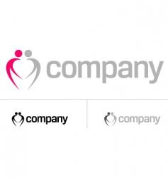 couple heart logo vector image vector image