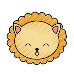 cute scribble lion face cartoon vector image vector image