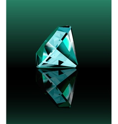 Cyan diamond with reflection vector image vector image