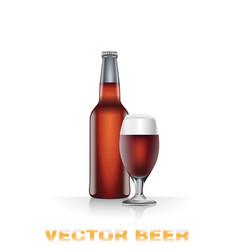 Dark beer bottle and glass vector