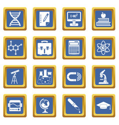 education icons set blue vector image vector image