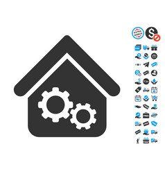 Factory house icon with free bonus vector